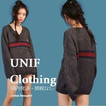 UNIF Clothing Stripes Casual Style V-Neck Long Sleeves Plain Oversized