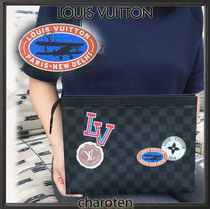 Louis Vuitton DAMIER GRAPHITE Other Check Patterns Unisex Cambus Bag in Bag 2WAY Clutches