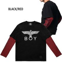 BOY LONDON Casual Style Studded U-Neck Long Sleeves Cotton Medium