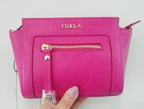 FURLA Casual Style Chain Plain Leather Crossbody Shoulder Bags