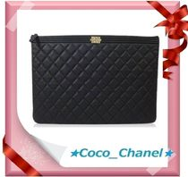 CHANEL BOY CHANEL Calfskin Plain Clutches