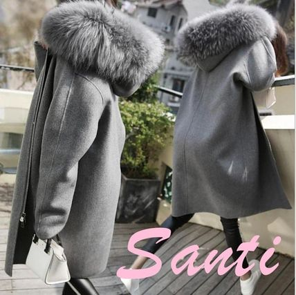 Faux Fur Plain Medium Elegant Style Coats