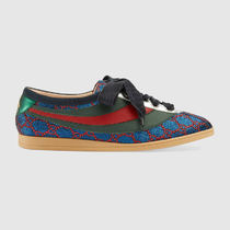 GUCCI Stripes Leather Low-Top Sneakers