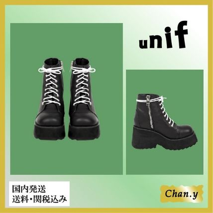 UNIF Clothing Rubber Sole Lace-up Casual Style Plain Leather Lace-up Boots