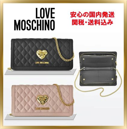 Heart Plain Leather Long Wallets