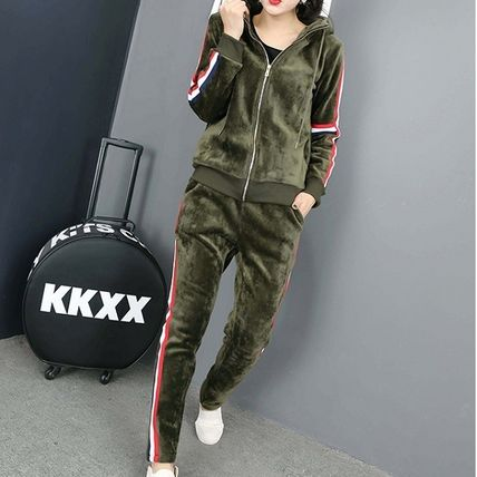 Dungarees Stripes Casual Style Velvet V-Neck Long Sleeves