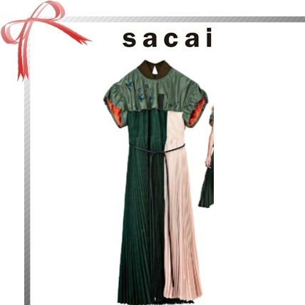sacai A-line Blended Fabrics Plain Long Short Sleeves Dresses
