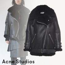 Acne Casual Style Unisex Leather Biker Jackets