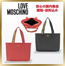 Love Moschino Heart Unisex Plain Leather Elegant Style Totes