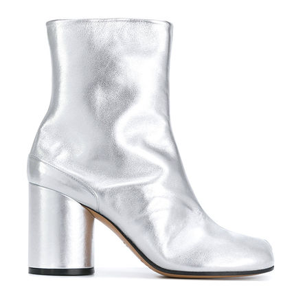 Round Toe Plain Leather Block Heels Boots Boots