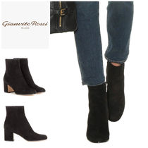 Gianvito Rossi Round Toe Suede Plain Block Heels Ankle & Booties Boots