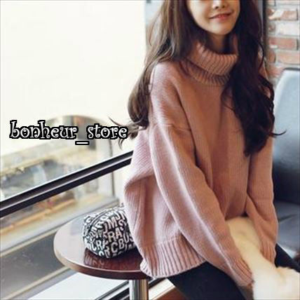 Casual Style Long Sleeves Plain Long Turtlenecks
