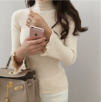 Cable Knit Sweat Long Sleeves Plain Medium Elegant Style