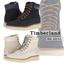 Timberland Round Toe Lace-up Casual Style Plain Leather Lace-up Boots