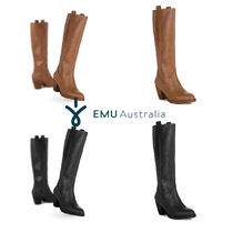 EMU Australia Leather Block Heels Boots Boots