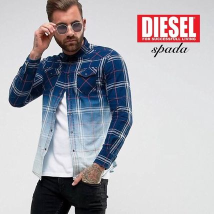 DIESEL Other Check Patterns Street Style Long Sleeves Cotton Shirts