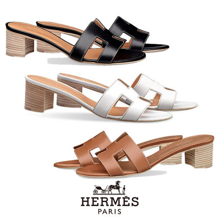Open Toe Leather Block Heels Sandals