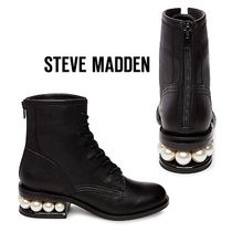 Steve Madden Round Toe Lace-up Casual Style Plain Leather Block Heels