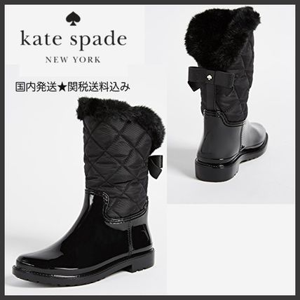 kate spade new york Rubber Sole Faux Fur Rain Boots Boots