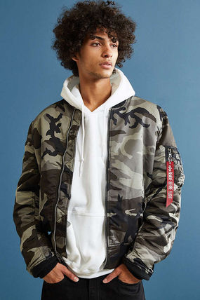 ALPHA INDUSTRIES Short Camouflage Street Style Plain MA-1 Bomber Jackets