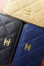 CHANEL ICON Unisex Leather Small Wallet Coin Cases