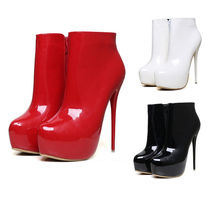 Casual Style Enamel Plain Pin Heels Ankle & Booties Boots
