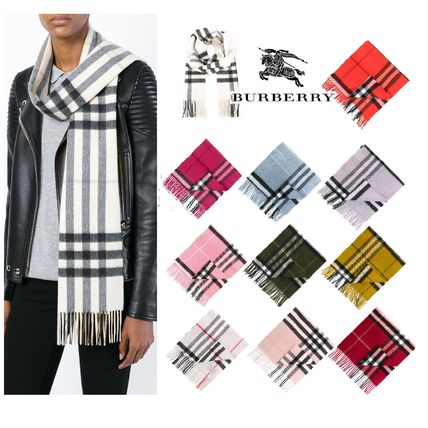 Burberry Other Check Patterns Unisex Cashmere Elegant Style