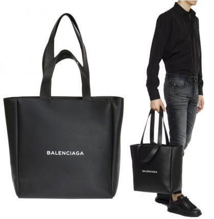 BALENCIAGA Unisex A4 2WAY Plain Leather Totes