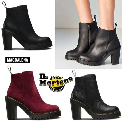 Dr Martens Plain Toe Casual Style Plain Leather Block Heels