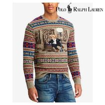 POLO RALPH LAUREN Crew Neck Wool Low Gauge Long Sleeves Other Animal Patterns
