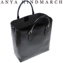 Anya Hindmarch Casual Style Unisex A4 2WAY Plain Leather Totes