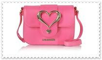 Love Moschino Heart Plain Leather Crossbody Shoulder Bags