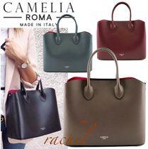 CAMELIA ROMA Bag in Bag 2WAY Plain Leather Elegant Style Handbags