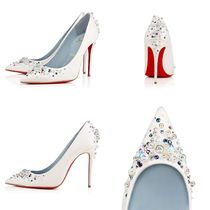 Christian Louboutin Studded Plain Leather Pin Heels Party Style