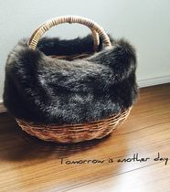 Faux Fur Straw Bags