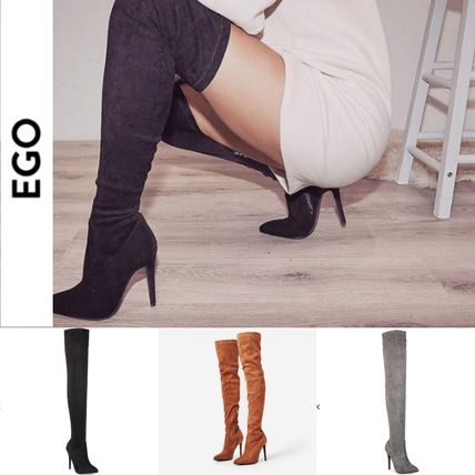 Suede Plain Pin Heels Over-the-Knee Boots
