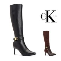 Calvin Klein Plain Toe Plain Leather Pin Heels Elegant Style