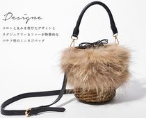 Fur 2WAY Plain Elegant Style Straw Bags