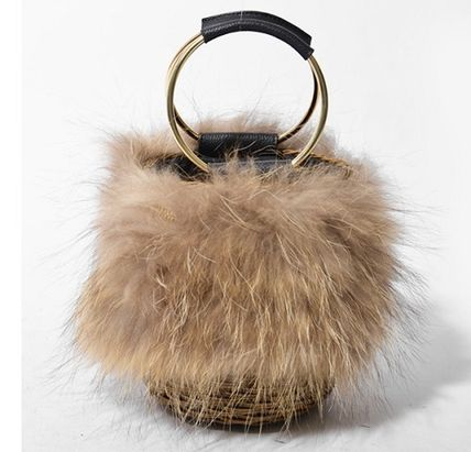 Casual Style Fur Plain Straw Bags