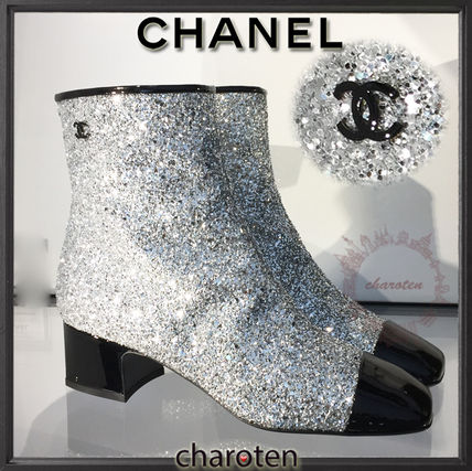 chanel glitter boots. chanel icon square toe bi-color plain leather block heels elegant style chanel glitter boots o