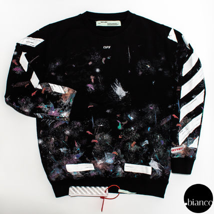 Off-White Crew Neck Stripes Sweat Street Style Long Sleeves