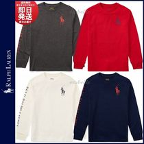 Ralph Lauren Crew Neck Unisex Long Sleeves Cotton Logos on the Sleeves