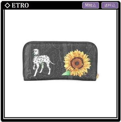 ETRO Flower Patterns Other Animal Patterns Leather Long Wallets