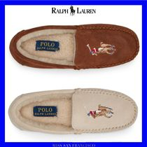 Ralph Lauren Moccasin Round Toe Casual Style Suede Plain