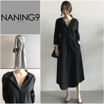 NANING9 Crew Neck Cropped Plain Cotton Dresses