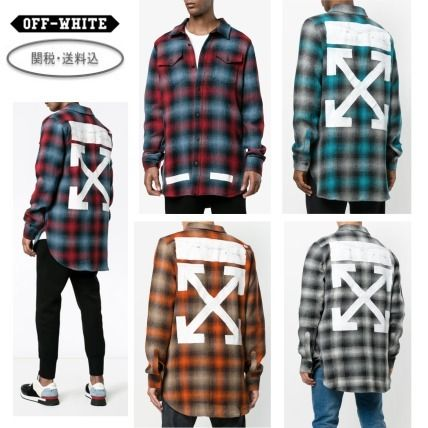 Off-White Other Check Patterns Street Style Long Sleeves Shirts