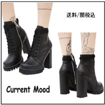 DOLLS KILL Lace-up Faux Fur Plain Chunky Heels Lace-up Boots