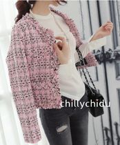 Short Other Check Patterns Tweed Elegant Style Jackets