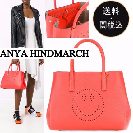 Anya Hindmarch Casual Style Plain Leather Totes