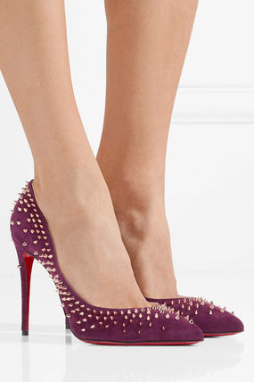 Christian Louboutin Suede Studded High Heel Pumps & Mules